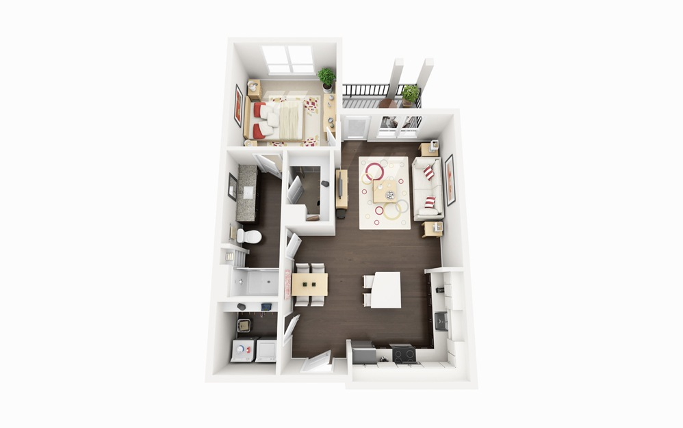 A1 - 1 bedroom floorplan layout with 1 bath and 754 square feet.