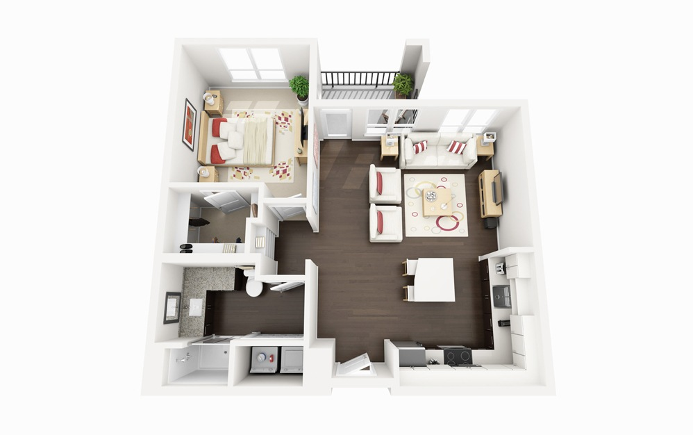 A2 - 1 bedroom floorplan layout with 1 bath and 764 square feet.