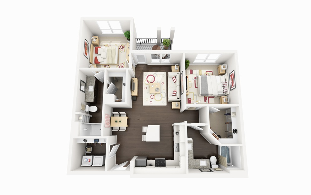 B1 - 2 bedroom floorplan layout with 2 baths and 1085 square feet.