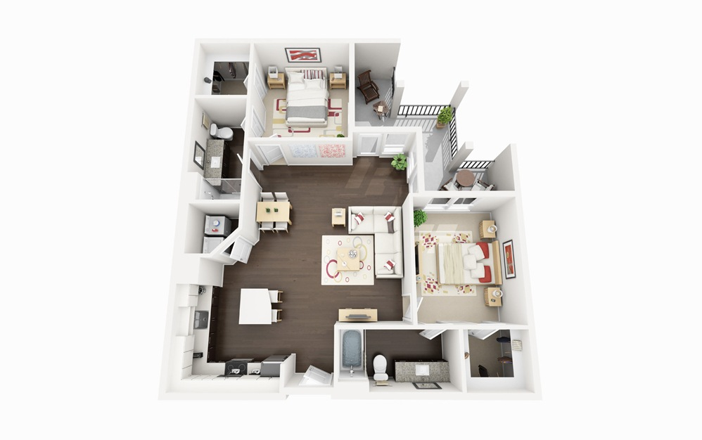 B2 - 2 bedroom floorplan layout with 2 baths and 1131 square feet.