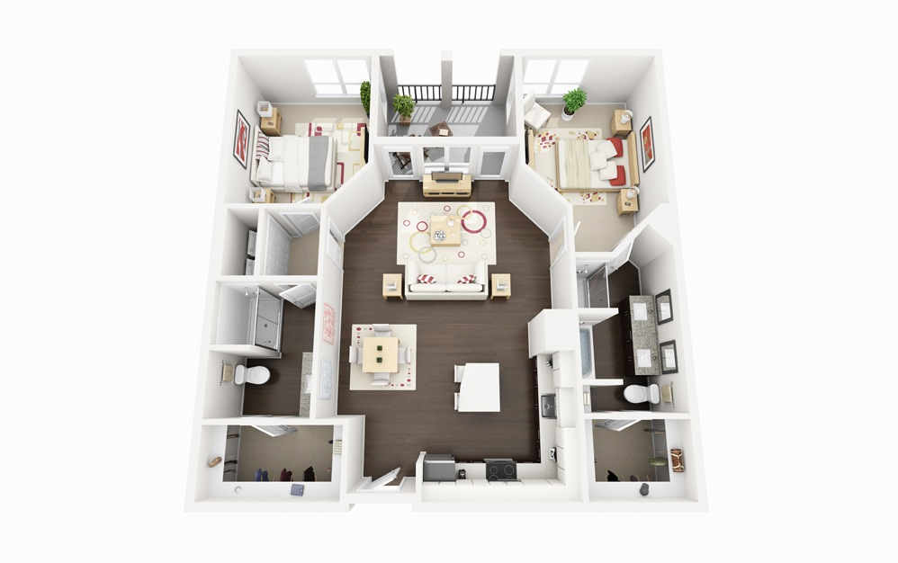B4 - 2 bedroom floorplan layout with 2 baths and 1207 square feet.