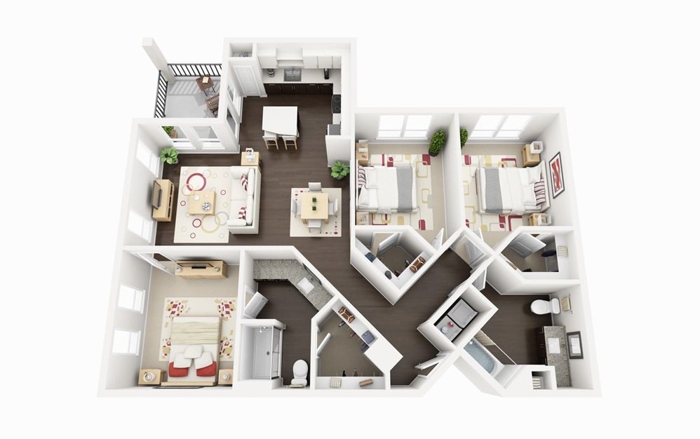 C1 - 3 bedroom floorplan layout with 2 baths and 1315 square feet.