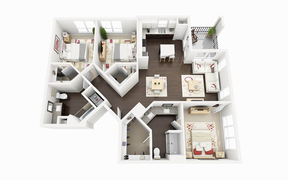 C2 - 3 bedroom floorplan layout with 2 baths and 1330 square feet.
