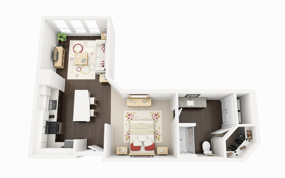 S1 - Studio floorplan layout with 1 bath and 633 square feet.