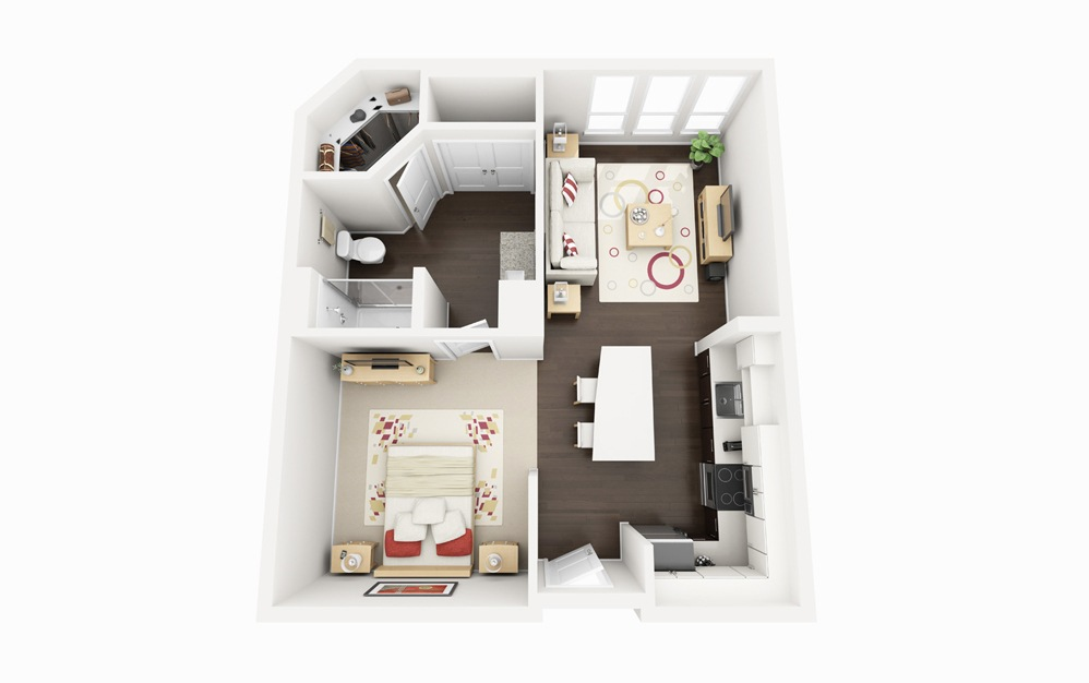S2 - Studio floorplan layout with 1 bath and 652 square feet.