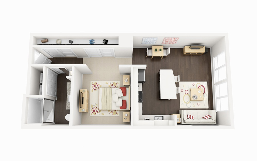 S3 - Studio floorplan layout with 1 bath and 703 square feet.