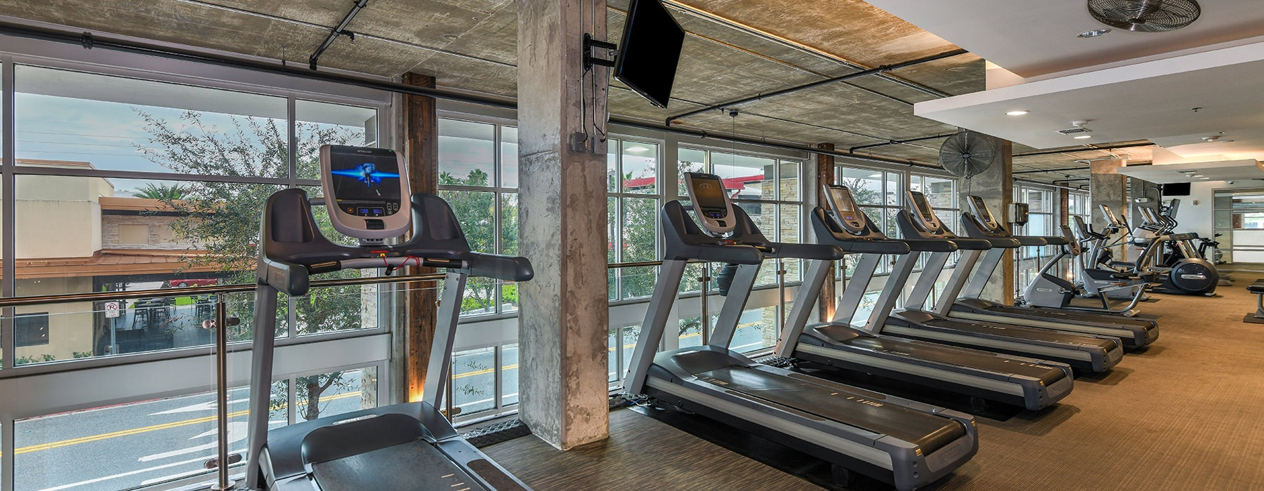 Fitness Area with treadmills dumbbells and machines